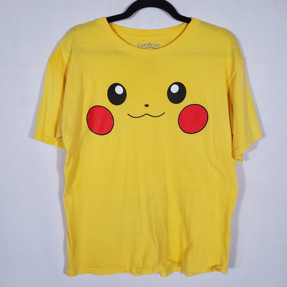 Pokemon Tops - Pikachu Face Short Sleeve T•Size L•